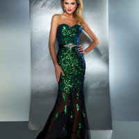 Mac Duggal Prom 2013 - Peacock Strapless Sequin Dress With Rhinestones - Unique Vintage - Cocktail, Pinup, Holiday & Prom Dresses.