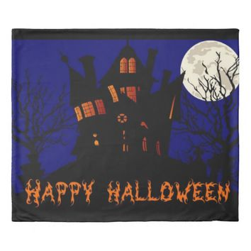 Happy Halloween Haunted House Duvet Cover