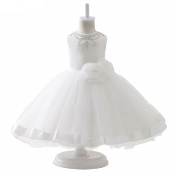 Evening White Organza With Flowers Ball Gown Flower Girl Dresses New First Flower Girl Dress