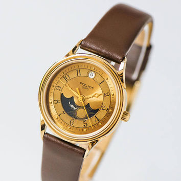 Moon Sun wristwatch quartz unisex, gift tomboy wristwatch gold shade stars, Christmas quartz watch Poljot Flight, new genuine leather strap