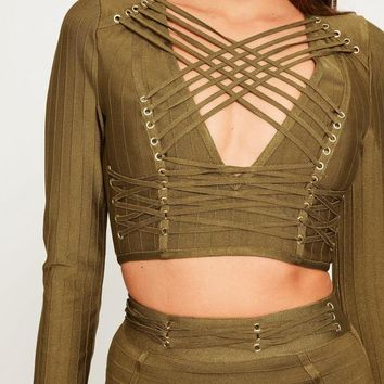 Missguided - Green Criss Cross Strap Bandage Crop Top