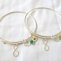 Set of 2 Personalized Alex and Ani Style Infinity Bracelets -- Silver, Birthstone, Initial, Bride/Bridesmaids Jewelry -- MADE TO ORDER