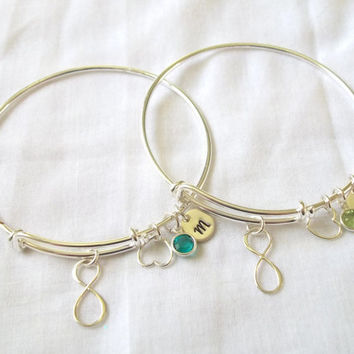 Set Of 2 Personalized Alex And Ani Style Infinity Bracelets Silver Birthstone