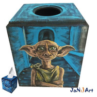 Tissue Box Cover Harry Potter Kleenex Storage Hogwarts Hand Painted Dobby Patronus Owl Sorting Hat Wizard World Rowling gift for fan geek