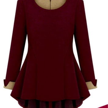 Wine Color Peplum Top (COS)