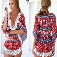 Printed Lace-Paneled Deep V Jumpshort