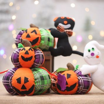 Creative Plush Halloween Pumpkin Ghost Doll Ornaments DIY Party Decoration Supplies Kids Gift Toys AF017