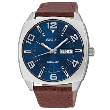 Seiko Mens Blue Dial Brown Leather Strap Automatic Watch