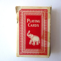 Vintage Deck Playing Cards with Card Case - made in China - Elephant