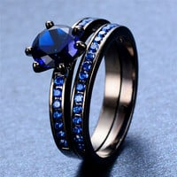 Antique 6 Claws Blue Zircon Rings Black Gold Filled Party Jewelry Wedding Engagement Double Rings For Couples RB0546