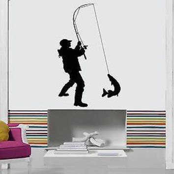 Wall Sticker Fishing Fish Relaxation Man Male Decor  Unique Gift z1433