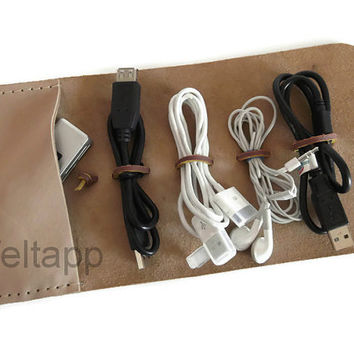 Leather Cord Wrap with Pocket, Cord Organizer, Cable Organizer, Cord Roll, Natural  Color, Hand Stitched