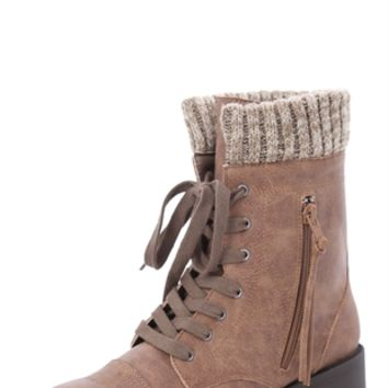Lace Up Combat Boot With Sweater Cuff From Deb Shops