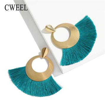 CWEEL Fashion Tassel Earrings For Women Bohemian Female Bijoux Vintage Green Earrings Dangle Drop Earring Wedding Gifts