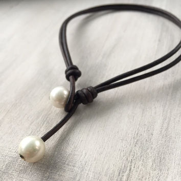 Leather freshwater pearl anklet, ankle bracelet, anklet, leather ankle bracelet, pearl ankle bracelet