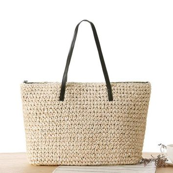 Casual Straw Holiday Beach Bag
