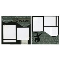 Two Coordinating Premade Scrapbook Pages - The Graduate - Boy