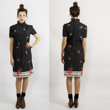 70s high victorian collar black midi dress geometric floral pattern short sleeve day dress MEDIUM m