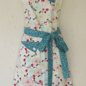 Apron / Floral / Birds / Retro Style / Bue Gold Floral / Red Flowers / Women's Full Apron / Eclectasie