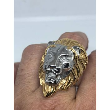 eacc81857 Vintage 1980's Gothic Silver Gold Stainless Steel Lion Head Men'