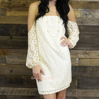 Faded Summer Lace Long Sleeve Open Shoulder Mini Dress