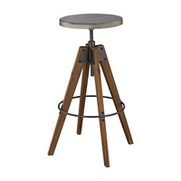 Rolfe Industrial Stool Natural Wood-tone & Tin