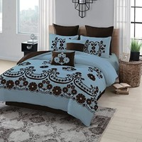 Geneva Home Fashion 8-Piece Sierra Flocked Comforter, Queen, Blue/Chocolate