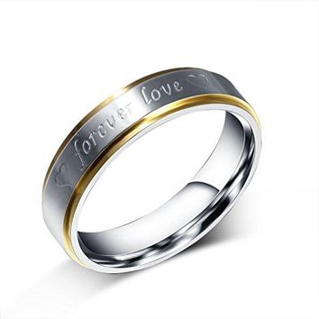 "6mm Titanium Stainless Steel Two Tone Silver&Gold Engraved ""Forever Love"" Wedding Ring Engagement Band"