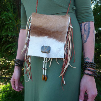 African Springbok Fur Pelt Purse, Shoulder Bag, Hand Bag, Labradorite, Tiger's Eye, Buffalo Bone, Coyote Teeth and Claws, Deerskin Leather