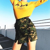 Camo Weave Mini Skirt