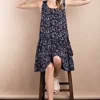 Lightweight Navy Flowy Tunic Tank Dress