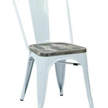 Office Star White/Ash Crazy Horse Bristow Metal Chair with Vintage Wood Seat