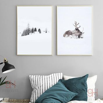 900D Posters And Prints Wall Art Canvas Painting Wall Pictures Nordic Winner Forest and Deer Picture Decoration NOR019