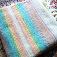 Pastel Mexico throw blanket/ vintage pastel stripe with fringe light weight blanket/ boho decor/ pastel tribal blanket