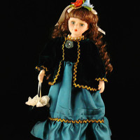 On Sale Vintage / Unique / Victorian / Brown Hair / Green Dress/ Porcelain Doll / With Stand