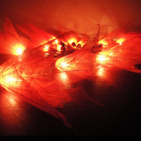 20 Orange Bodhi Leave Flower Fairy Lights String 3.5M Home Accent Floral Decor