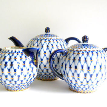 russian lomonosov blue white and gold teapot, creamer and sugar bowl
