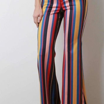 ICIKON3 Multicolor Stripe Print High Rise Bell Bottom Pants