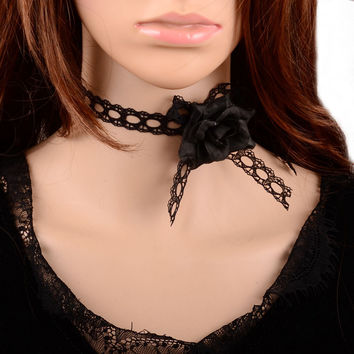 Shiny Gift Jewelry New Arrival Black Lace Stylish Innovative Pearls Floral Accessory Necklace [7786510023]