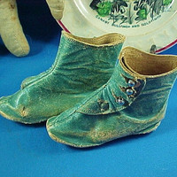 Antique Victorian Doll's Leather Shoes, Blue with Silver Buttons