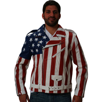 Mens Leather Jacket USA Flag stitched not printed Moto Style Nappa Sheepskin