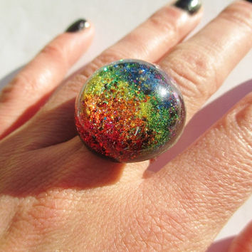 Rainbow Ring - Holographic Glitter Resin Sparkly Fun Fairy Dust Jewelry Half Sphere