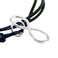 Custom Sterling Silver Infinity Leather Necklace.