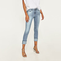 MID RISE JEANS WITH PEARL BEADS