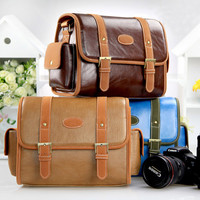 Leather Crossbody DSLR Camera Messenger Bag