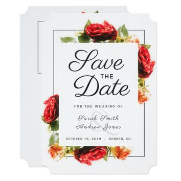 Elegant Red Rose Floral Save the Date Card