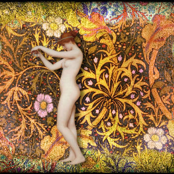 """Nude Art Print, Art Nouveau, Mixed Media Collage 8 x 10 """"Nude Among Color"""" Colorful Flower, by Eahkee"""