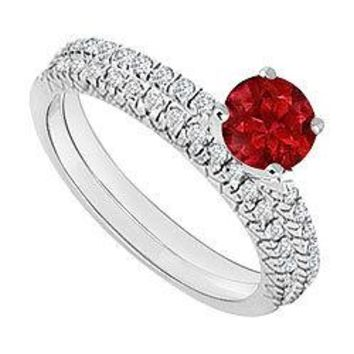 14K White Gold : Ruby and Diamond Engagement Ring with Wedding Band Set 1.00 CT TGW