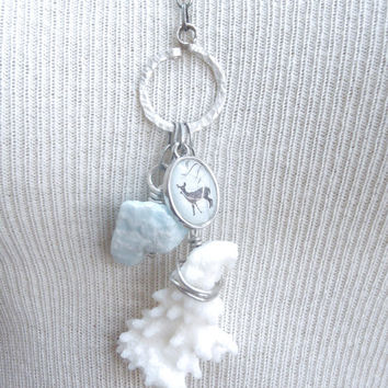 Ice Blue Hemimorphite Long Charm Necklace Silver Chain Handmade White Coral Blue Deer Charm WireWrap Crystal Jewelry Charms FREE SHIPPING