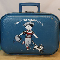 Children's Vintage Suitcase Going To Grandma's Trojan Luggage Co. Blue Little Boy with Dog